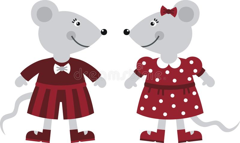 Download Two mice stock vector. Image of girl, dress, clothes - 18563745