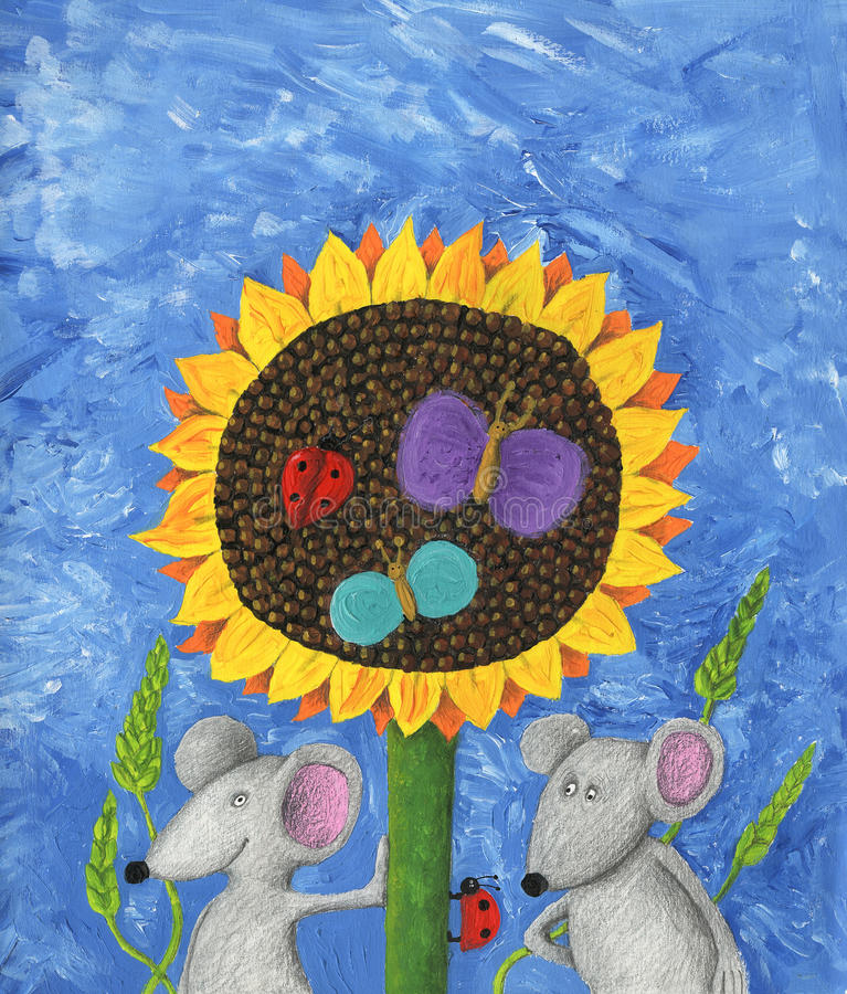 Two mice and sunflower. Acrylic illustration of two mice and sunflower royalty free illustration