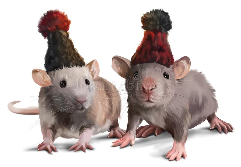 Two mice wearing hats. Watercolor painting royalty free illustration