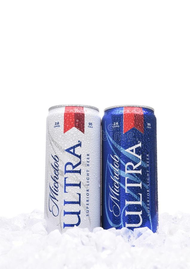 Two Michelob Ultra beer 12 ounce cans in ice. A a low carb and low calorie light beer from Anheuser-Busch. royalty free stock images