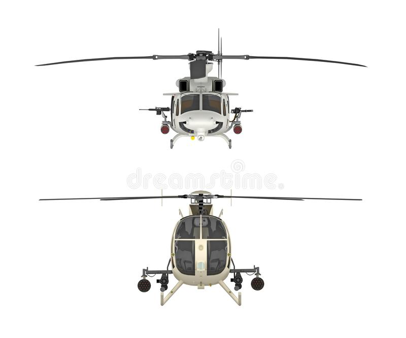 Two military helicopters front view isolated on white royalty free illustration