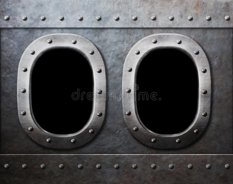 Two military ship or submarine windows as steam punk background stock photography