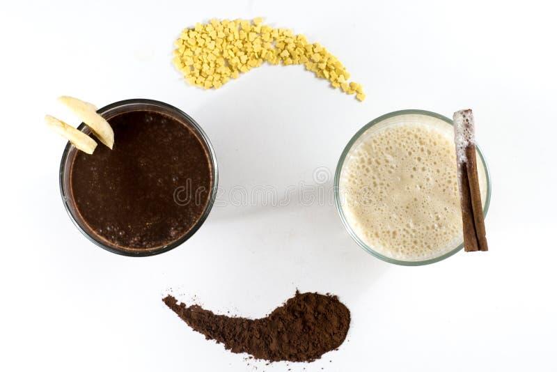 Two milk shakes stock photo