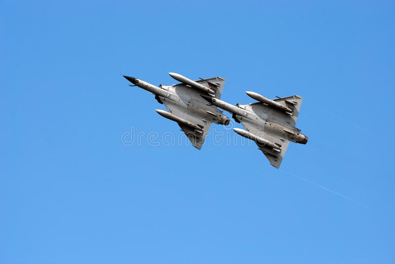 Two Mirage 2000 jets. Two French Dassault Mirage 2000 jet fighters on the sky stock image