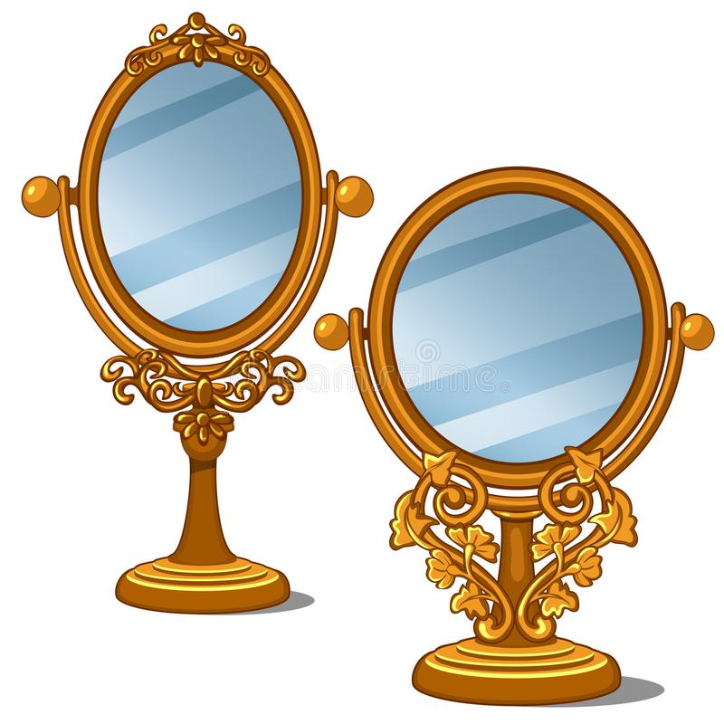 Two mirrors with golden frame and petal ornament vector illustration