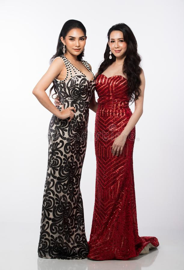 Two Miss Pageant Contest Evening Ball Gown dress stock images