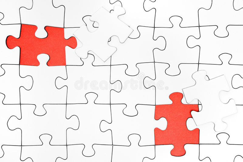 Two Missing Jigsaw Pieces stock images