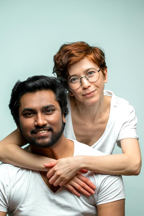 Two mixed race friends posing to the camera royalty free stock images