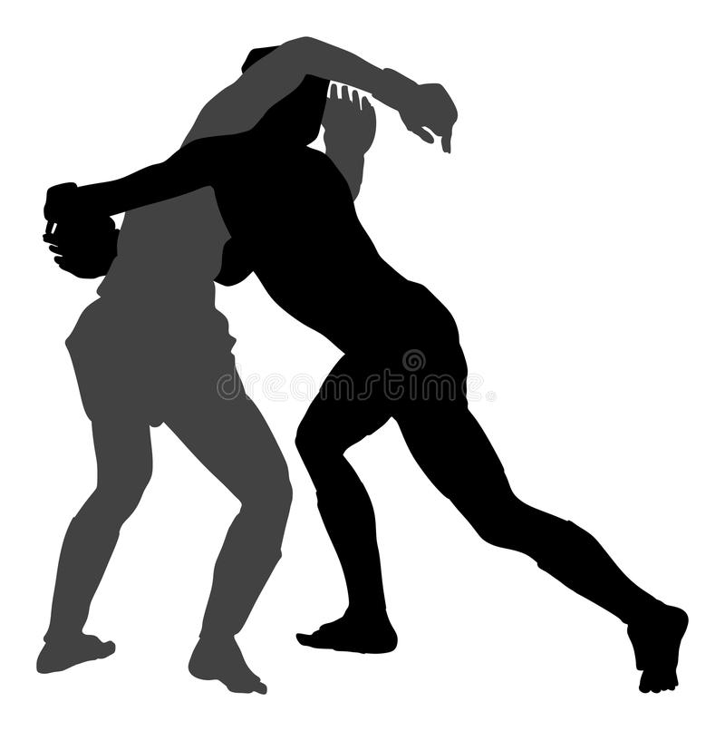 Two mma fighters silhouette, Multi martial arts competition. wrestling. stock illustration