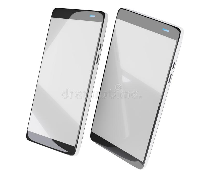 Two mobile phones isolated on white 3d-illustration royalty free illustration
