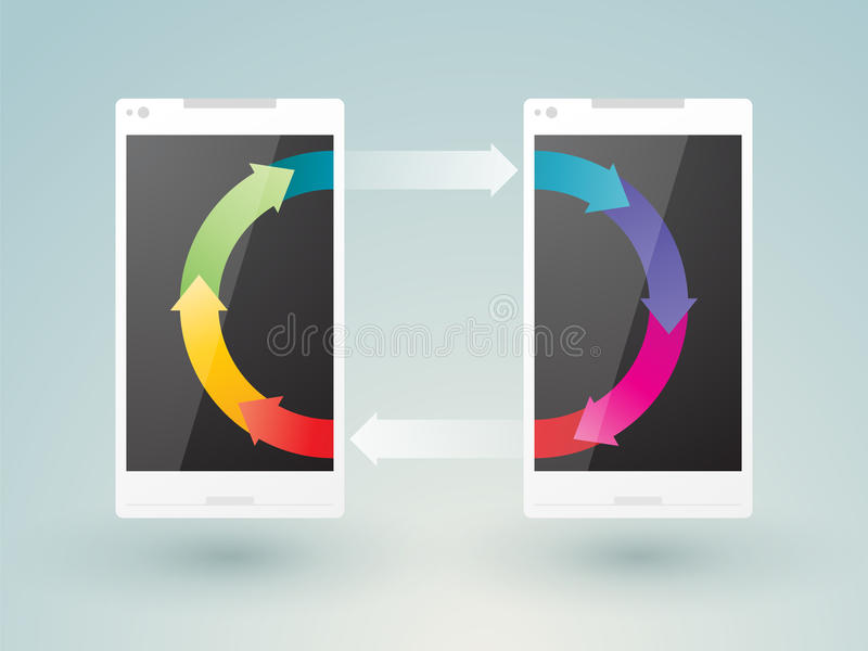 Two mobile phones. Share data vector illustration