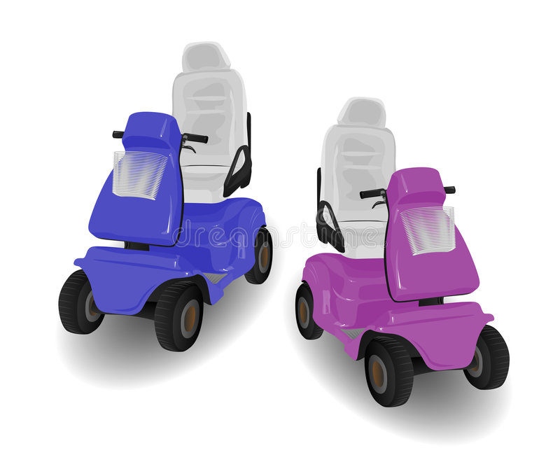 Two Mobility Scooter Illustrations. Pink and Blue on White vector illustration