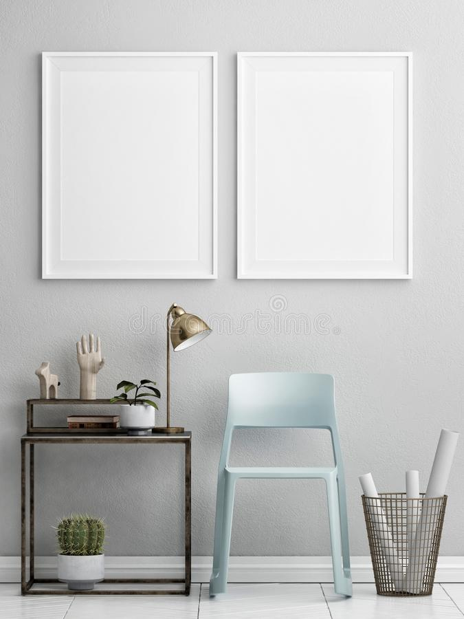 Two mock up posters with retro furniture, Nordic interior design. 3d illustration stock illustration