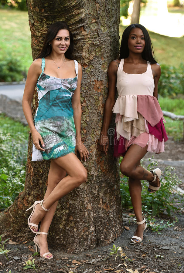 Two models posing in short summer dresses. royalty free stock image