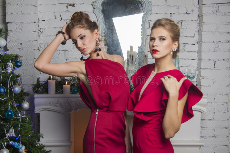 Two models in red party dress near new year tree. Girsl in red party dress standing straight and posing in studio royalty free stock photography