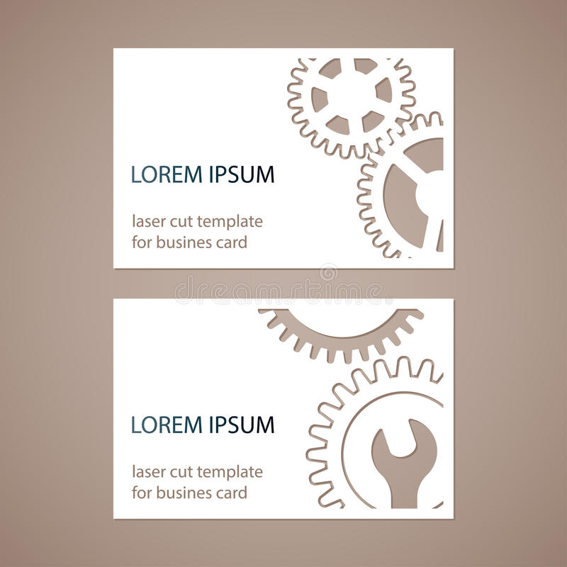 Two modern business cards with holes in the form of gears and wrench two modern business cards with holes in the form of gears and wrench vector laser cutting template reheart Gallery