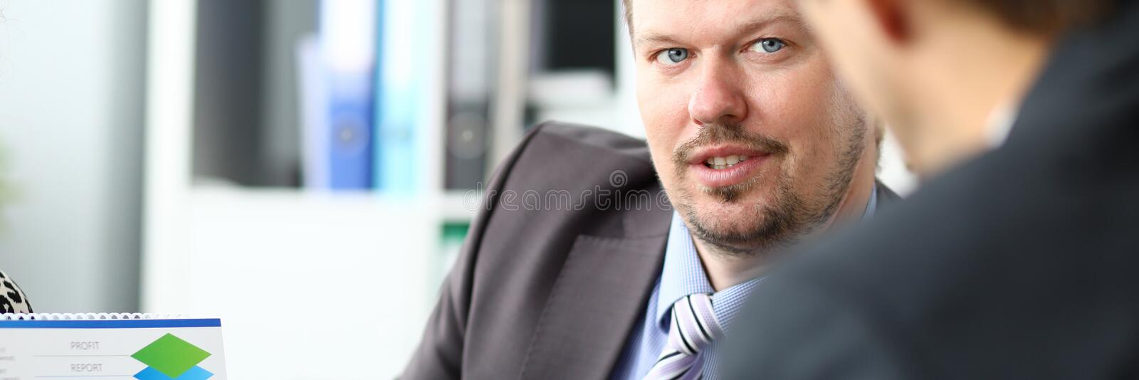 Two businessman one on one meeting stock image