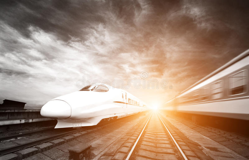 Two modern high speed train stock photography