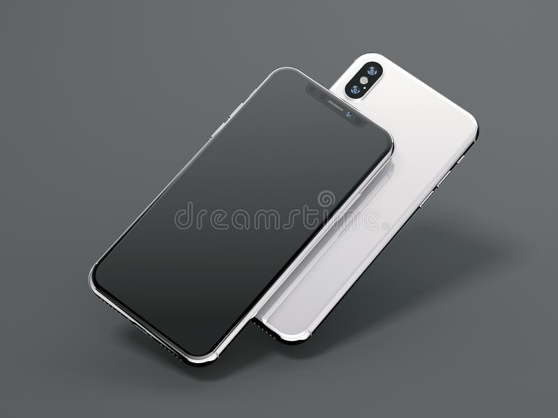 Two modern smartphones with blank screen. 3d rendering. Two modern smartphones with blank screen on gray background. 3d rendering stock illustration