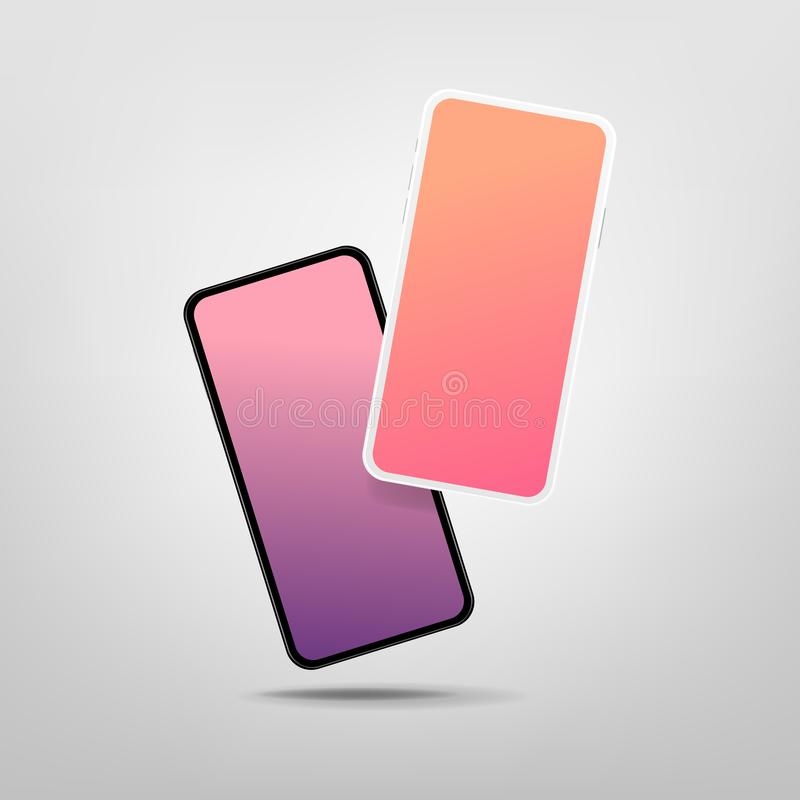 Two modern smartphones with blank screen. Mock-up of realistic Smartphones. Vector stock illustration