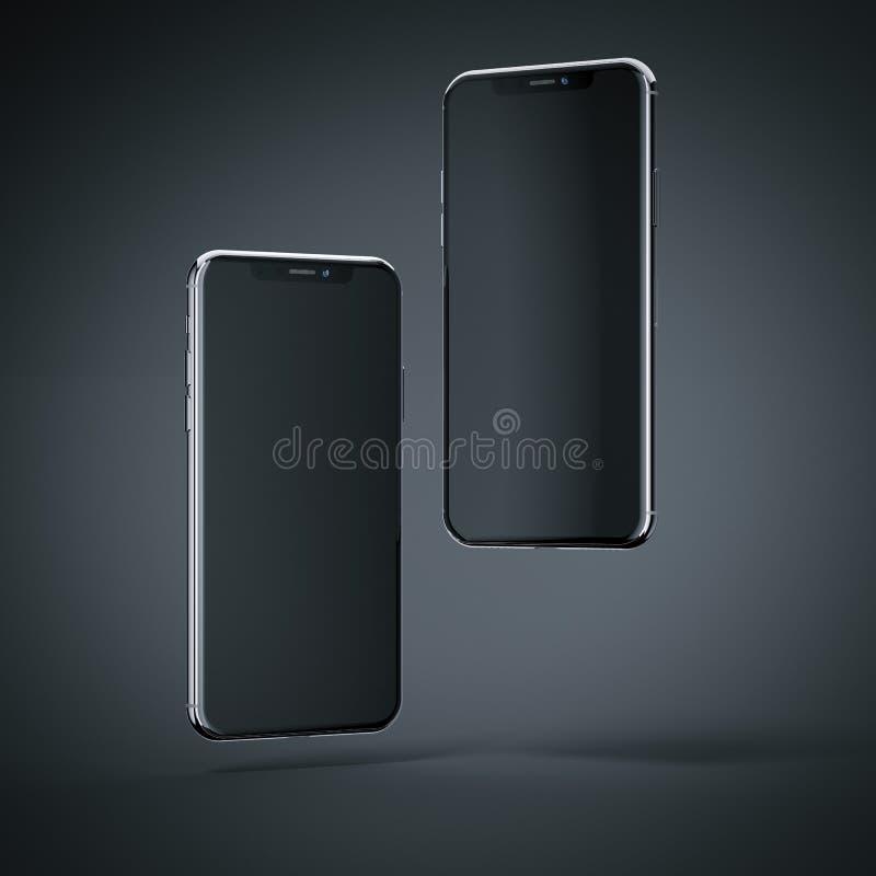 Two modern smartphones flying. 3d rendering stock illustration