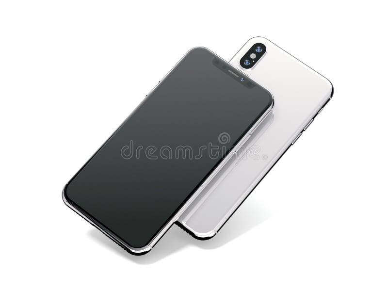 Two modern smartphones on white background. 3d rendering vector illustration