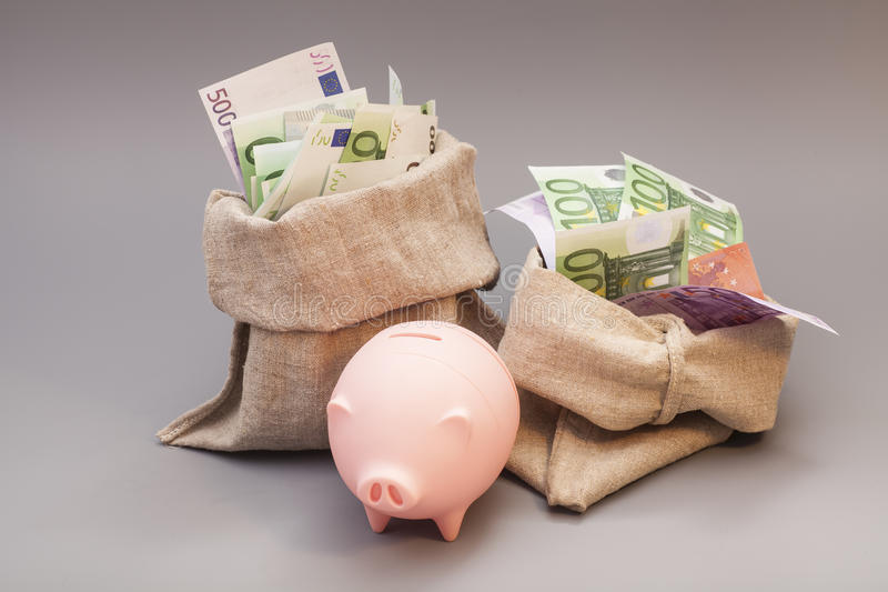 Two money bag with euro and pink piggy bank stock image
