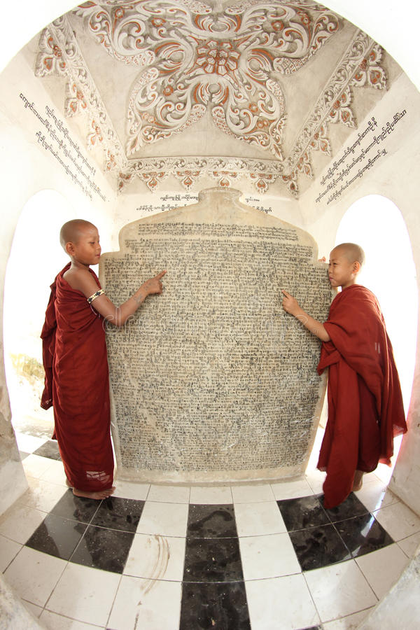 Two monks in myanmar. A pair of young monks in Myanmar stock photography