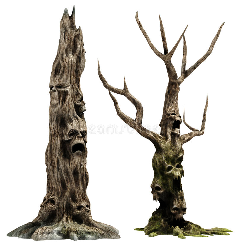 Two monster trees royalty free illustration