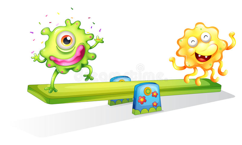 Two monsters playing vector illustration
