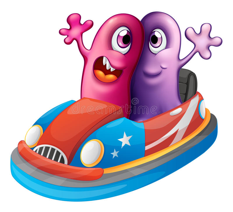 Two Monsters Riding A Car Stock Vector