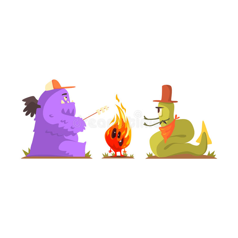 Two Monsters Warming Up And Frying Marshmallows Next To Alive Fire Creature, Alien Camping And Hiking Cartoon. Illustration. Fantastic Animal On A Hike Outdoors vector illustration