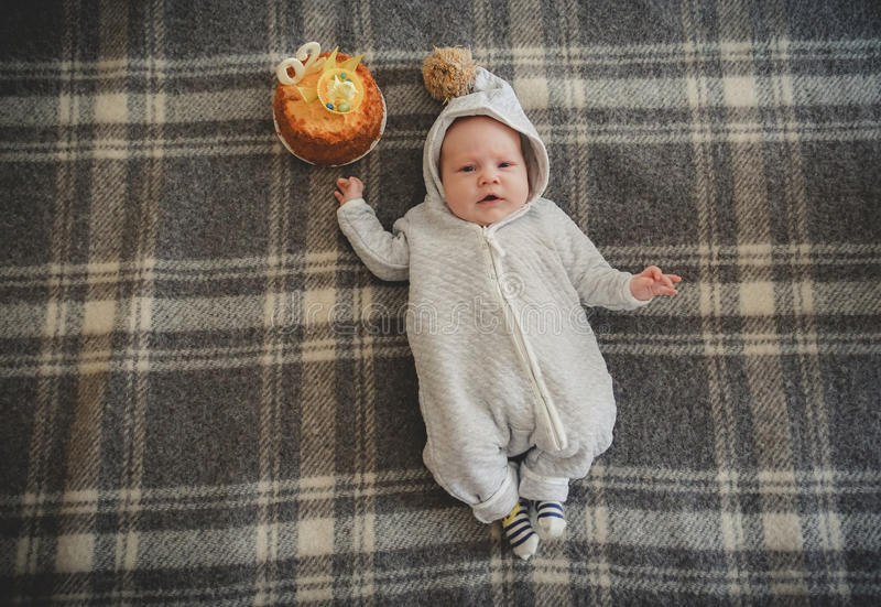 Two month baby celebrating his birthday stock photography