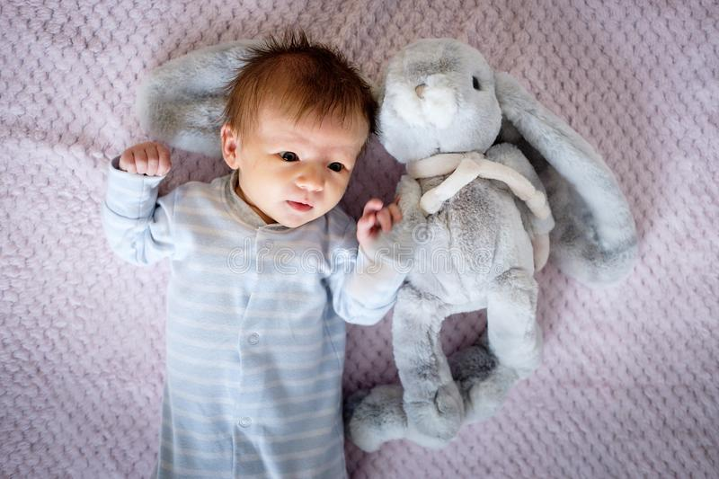Two months old baby in bed royalty free stock photo