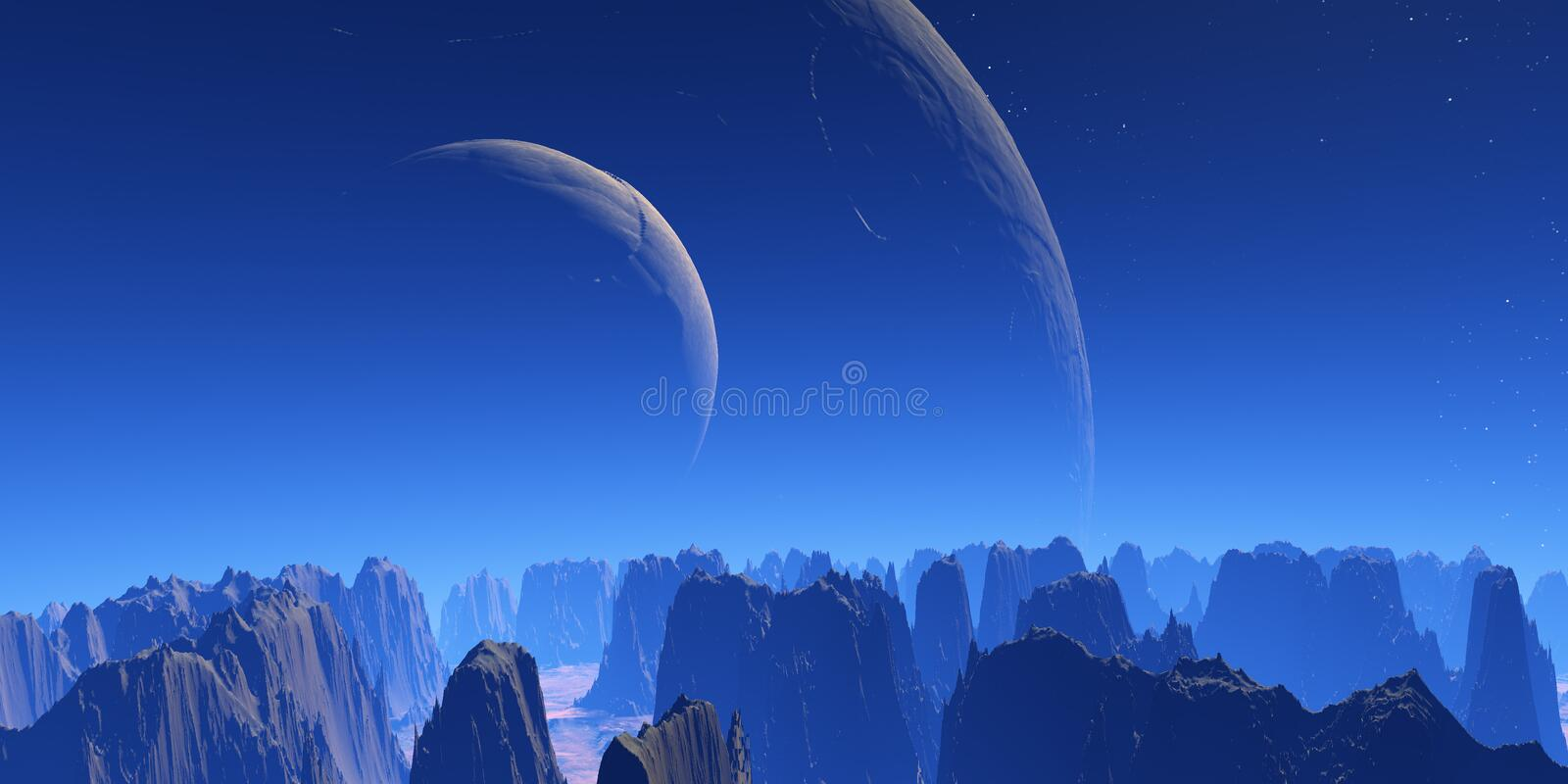 Two moons stock illustration
