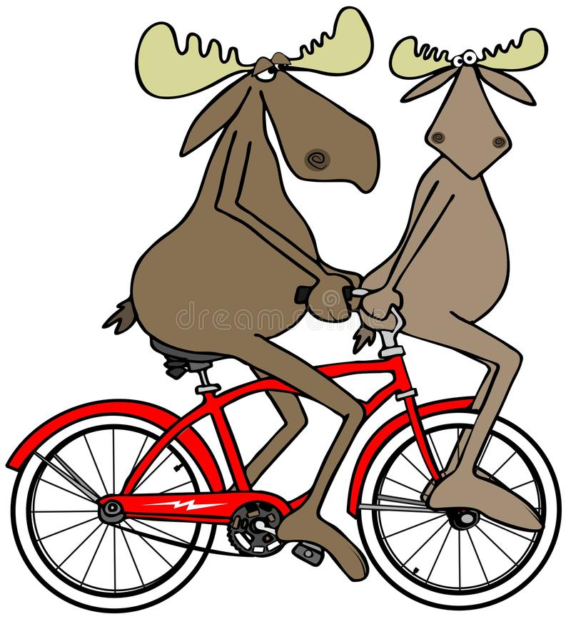 Two moose on a red bike stock illustration