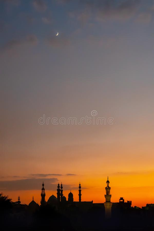 The two mosques Al-Rifa 'i and Sultan Hassan in Cairo Egypt at su. Nset royalty free stock photos