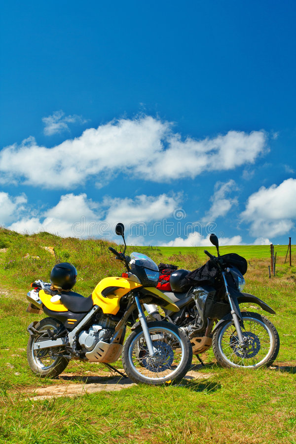 Two motorbikes stock images