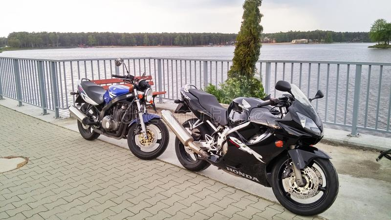 Two motorcycles motorcycle Honda CBR 600 and Suzuki GS 500 royalty free stock image