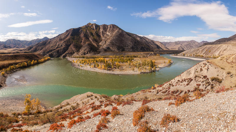 Two mountain rivers royalty free stock photos