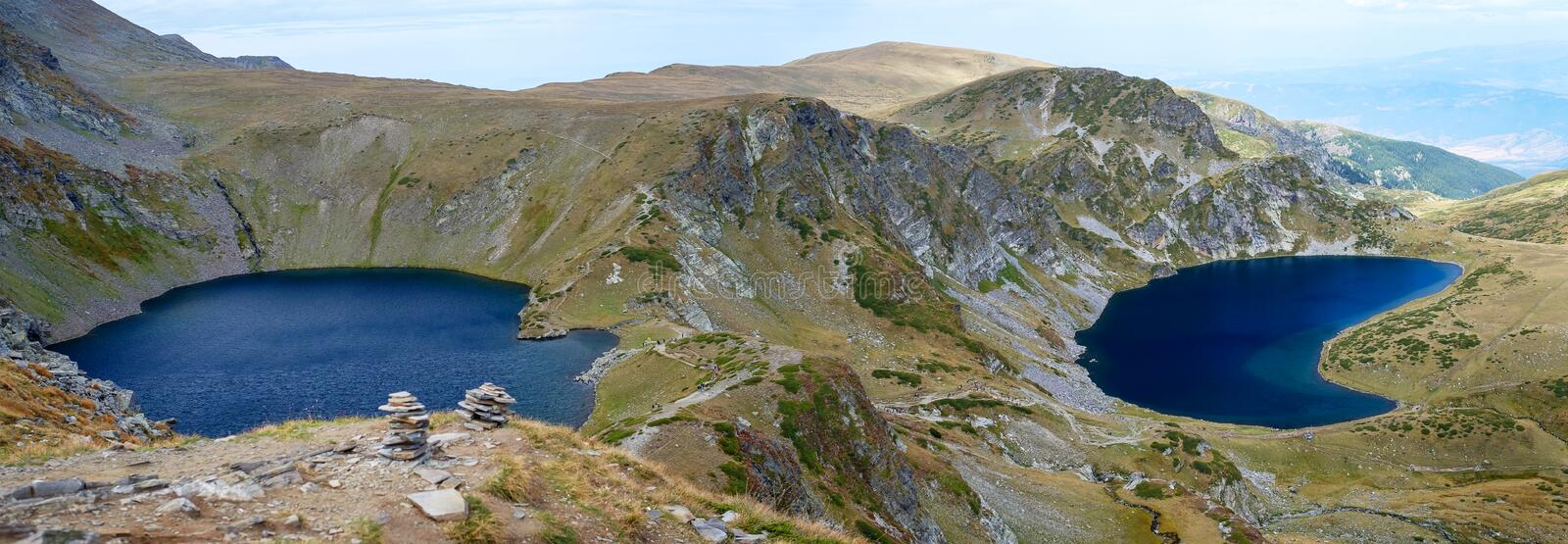 Two mountains lakes panorama royalty free stock photography