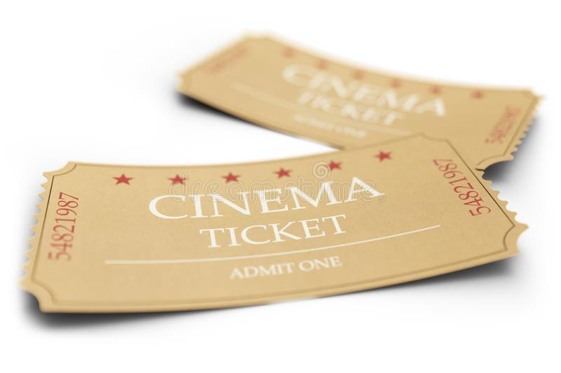 Two movie tickets isolated on white background, with depth of field effect, close-up. Cinema admit one tickets made of. Textured paper, 3d illustration stock illustration