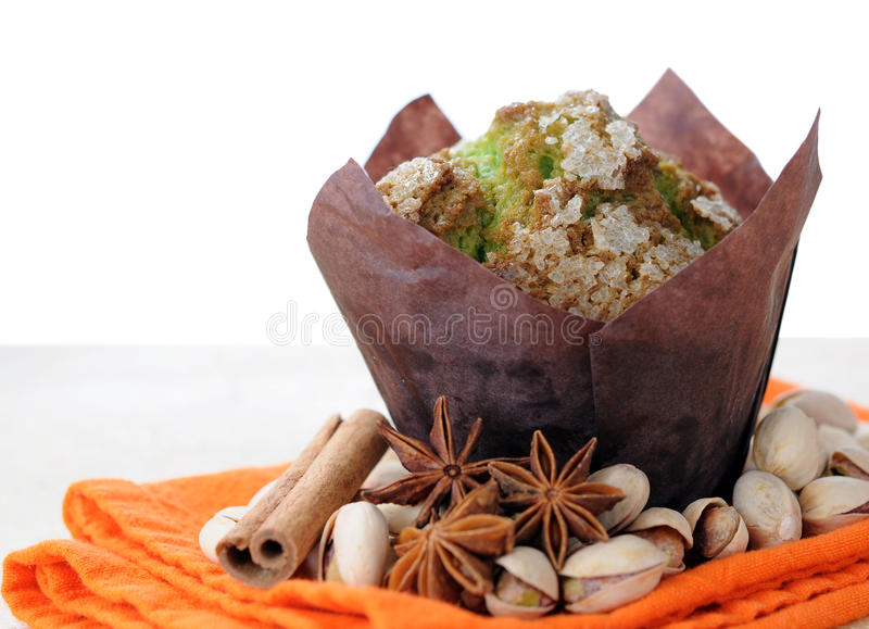 Two muffins and pistachio stock photography