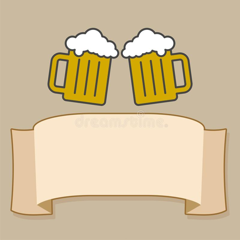 Two Mugs of Beer clink, with ribbon for text applicable for menu restaurant royalty free illustration