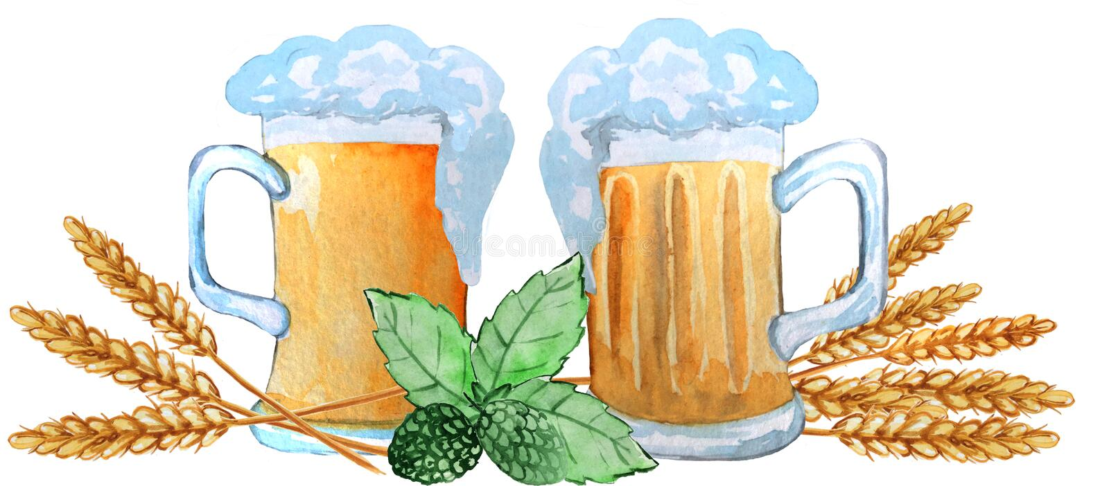 Two mugs of beer with ears of wheat, hop leaves on a white background. watercolor illustration for posters, prints vector illustration