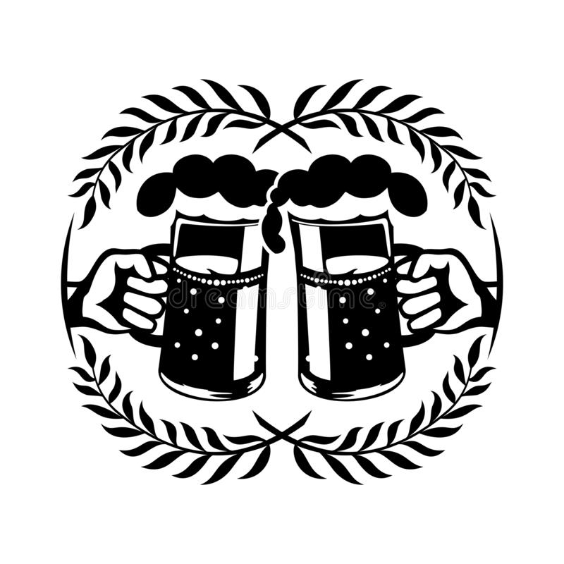 Two mugs with beer in hands. vector illustration