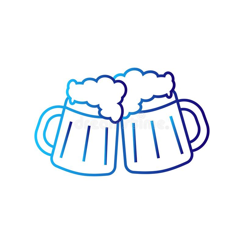 Two mugs of beer stock illustration