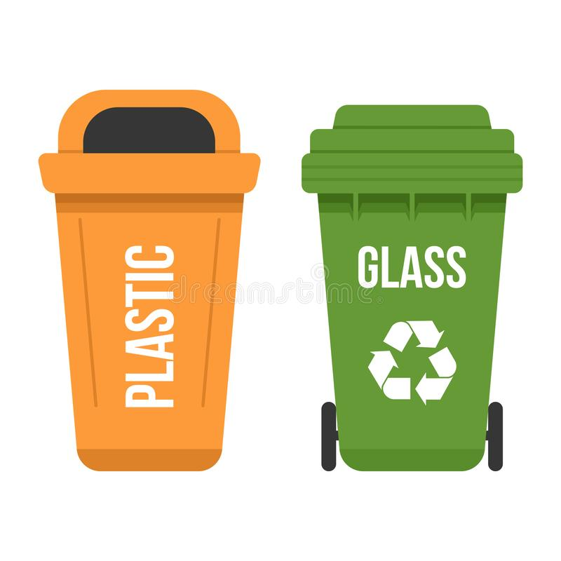 Two multicolored recycle waste bins flat vector illustration. Two multicolored waste bins for separate garbage collection. Recycling garbage containers for stock illustration