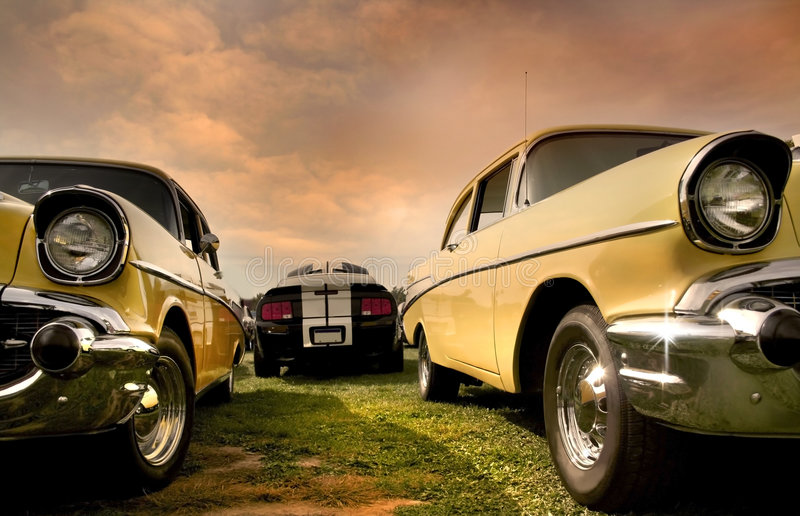 Two Muscle Cars royalty free stock image