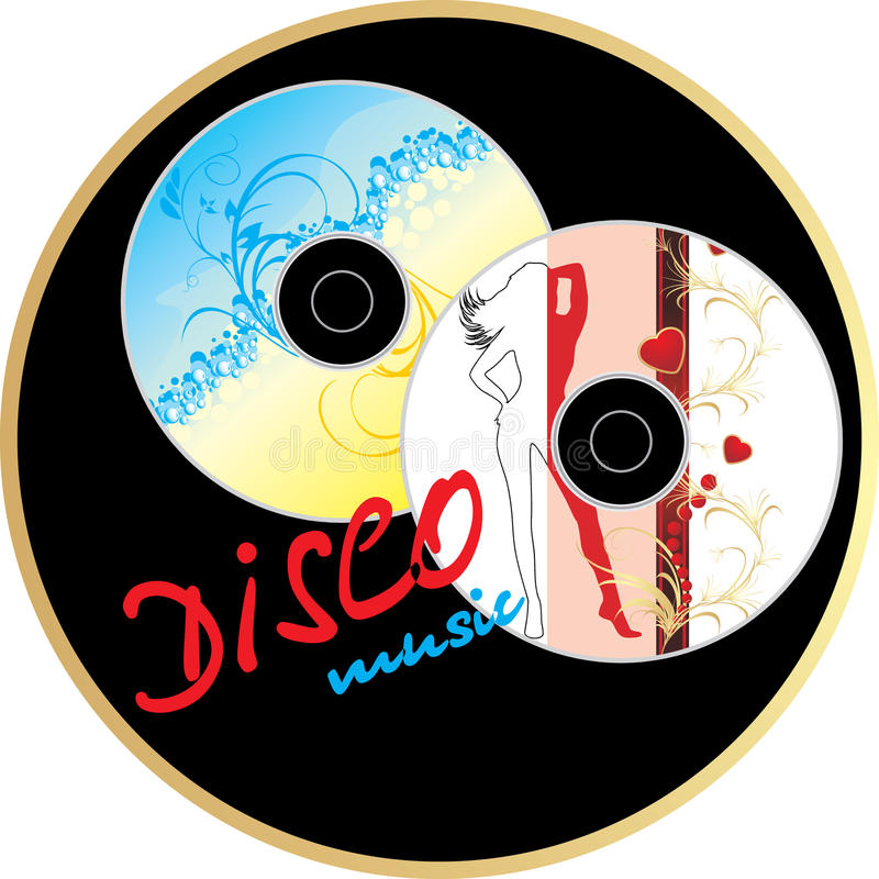 Two music disk. Sticker royalty free illustration